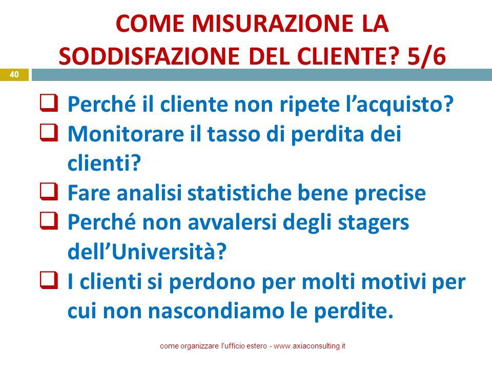 COME MISURAZIONE LA SODDISFAZIONE DEL CLIENTE? 5/6 come organizzare l'ufficio estero - www.axiaconsulting.it 40 Perché il cliente non ripete lacquisto