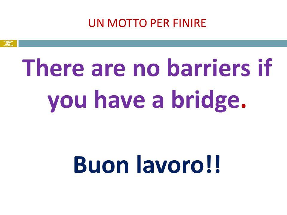 UN MOTTO PER FINIRE There are no barriers if you have a bridge. Buon lavoro!! 43 come organizzare l'ufficio estero - www.axiacon sulting.it