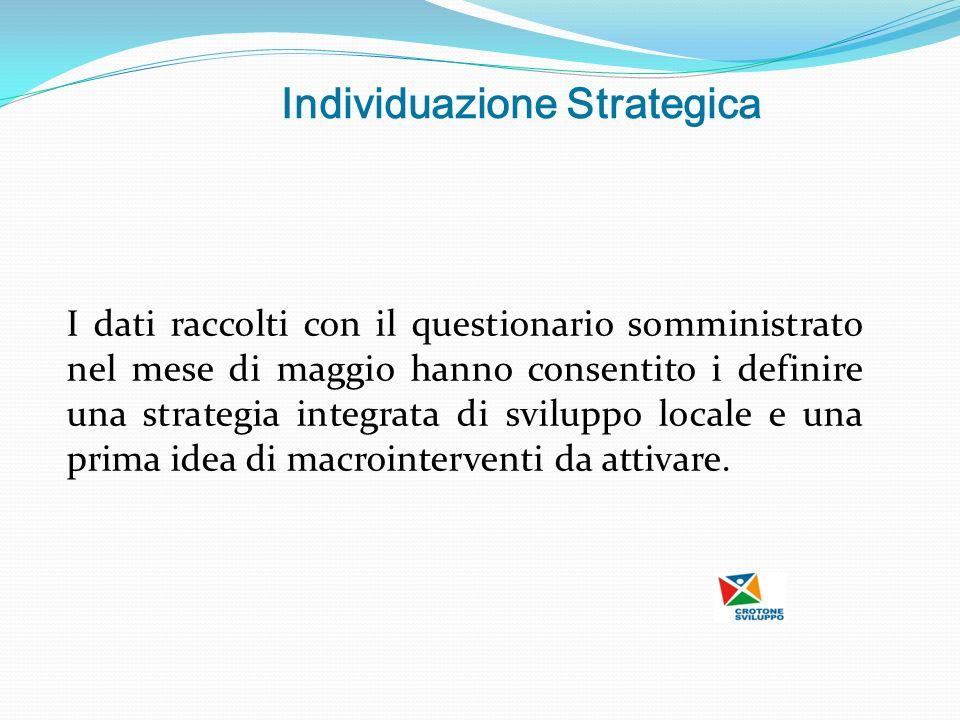 Individuazione Strategica I dati raccolti con il questionario somministrato nel mese di maggio hanno consentito i definire una strategia integrata di sviluppo locale e una prima idea di macrointerventi da attivare.