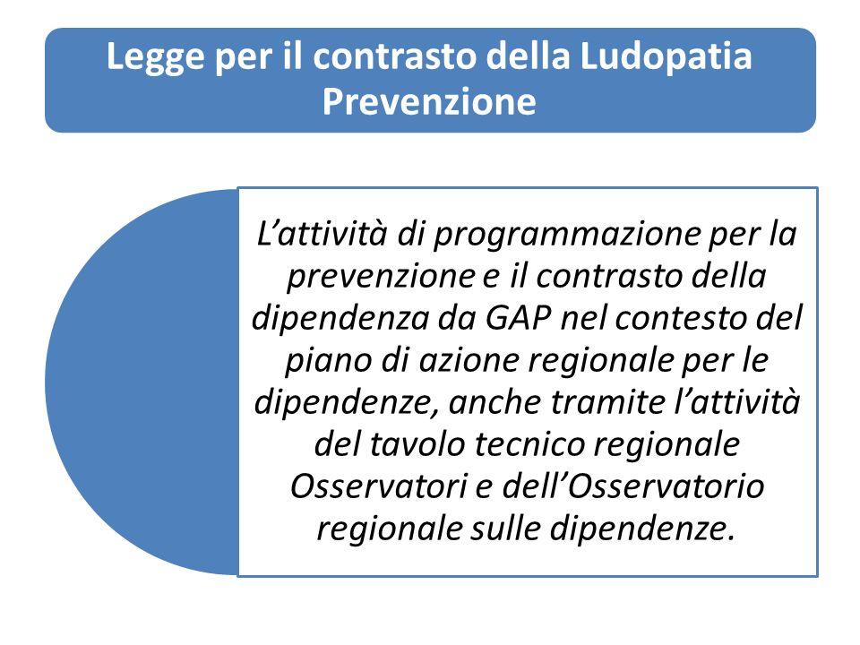 Legge per il contrasto della Ludopatia Prevenzione 1)Attività di informazione e sensibilizzazione sui fattori di rischio nella pratica del gioco dazzardo lecito.