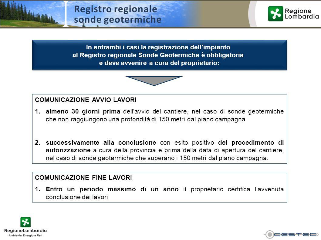 In entrambi i casi la registrazione dellimpianto al Registro regionale Sonde Geotermiche è obbligatoria e deve avvenire a cura del proprietario: In en
