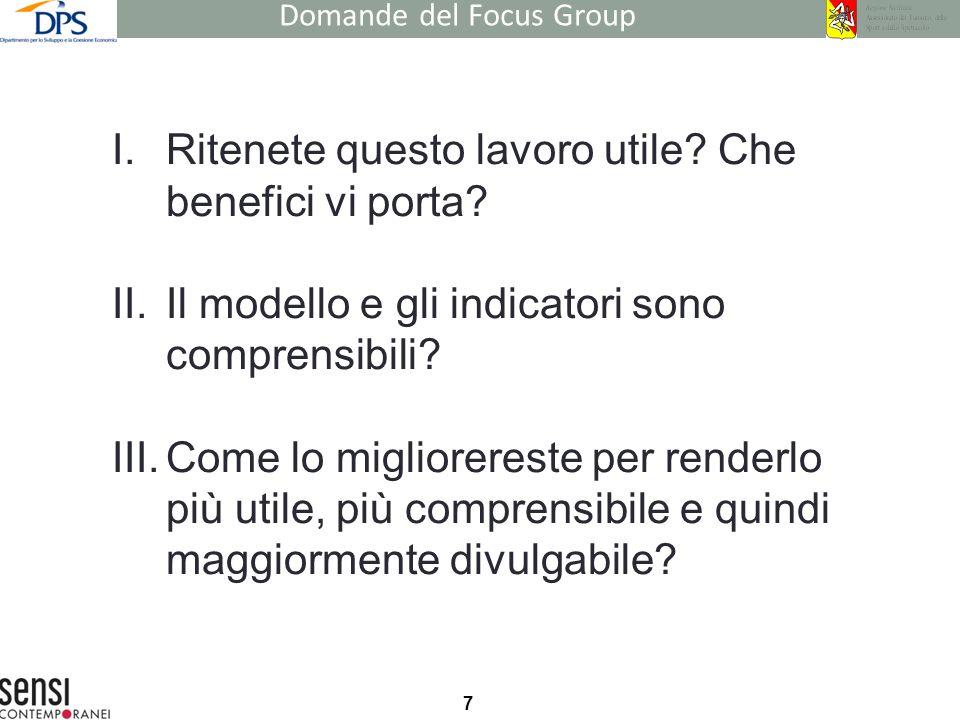 7 Domande del Focus Group I.Ritenete questo lavoro utile? Che benefici vi porta? II.Il modello e gli indicatori sono comprensibili? III.Come lo miglio