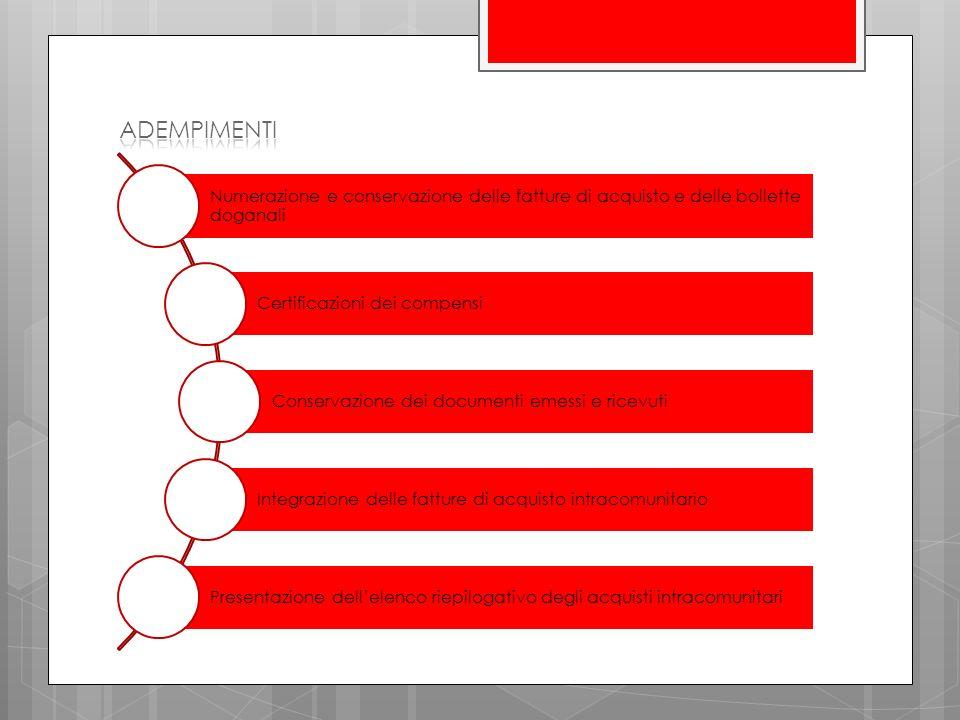 Numerazione e conservazione delle fatture di acquisto e delle bollette doganali Certificazioni dei compensi Conservazione dei documenti emessi e ricevuti Integrazione delle fatture di acquisto intracomunitario Presentazione dellelenco riepilogativo degli acquisti intracomunitari