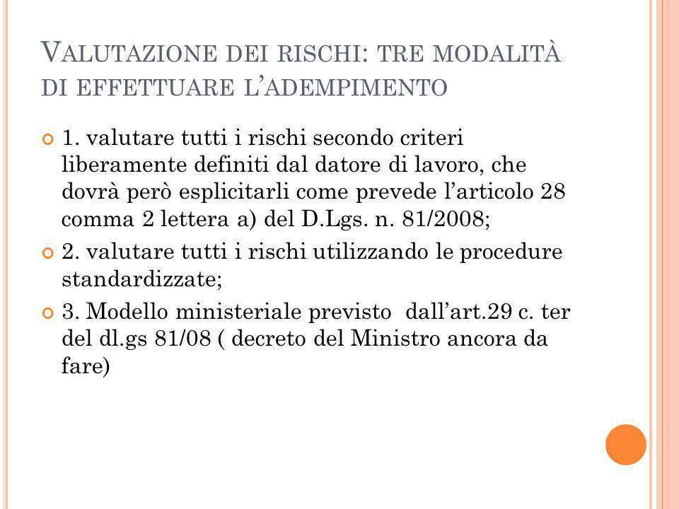V ALUTAZIONE DEI RISCHI : TRE MODALITÀ DI EFFETTUARE L ADEMPIMENTO 1.
