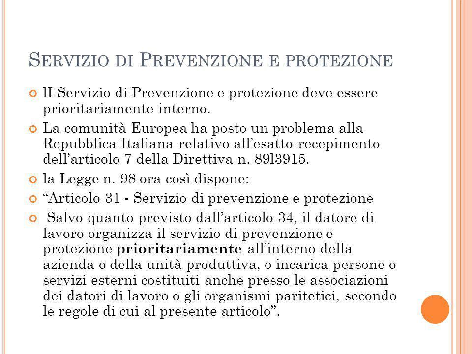 S ERVIZIO DI P REVENZIONE E PROTEZIONE lI Servizio di Prevenzione e protezione deve essere prioritariamente interno.