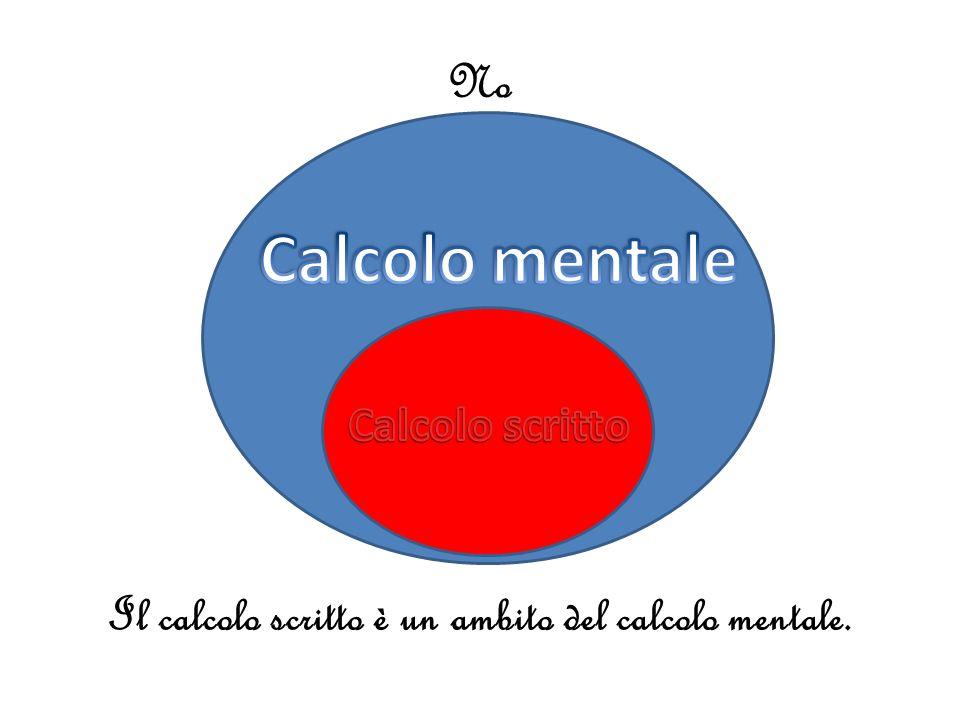 No Il calcolo scritto è un ambito del calcolo mentale.