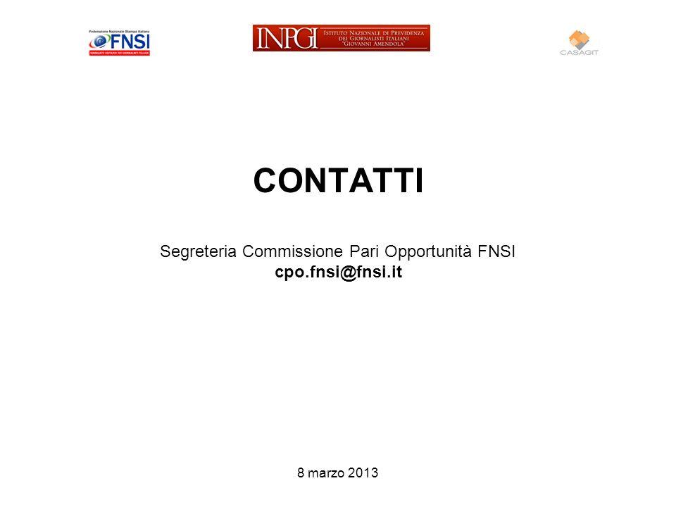 CONTATTI Segreteria Commissione Pari Opportunità FNSI cpo.fnsi@fnsi.it 8 marzo 2013