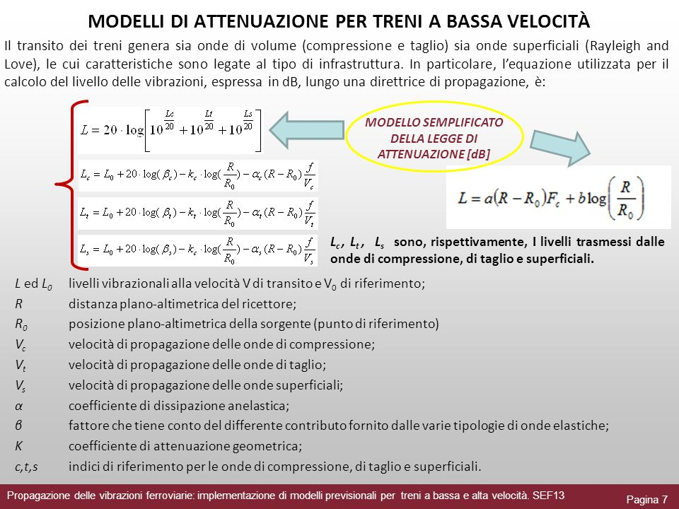 Propagazione delle vibrazioni ferroviarie: implementazione di modelli previsionali per treni a bassa e alta velocità.