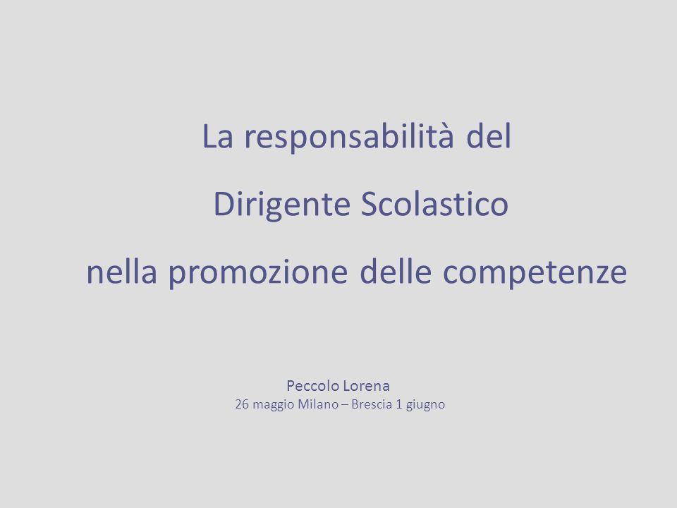 La responsabilità del Dirigente Scolastico nella promozione delle competenze Peccolo Lorena 26 maggio Milano – Brescia 1 giugno