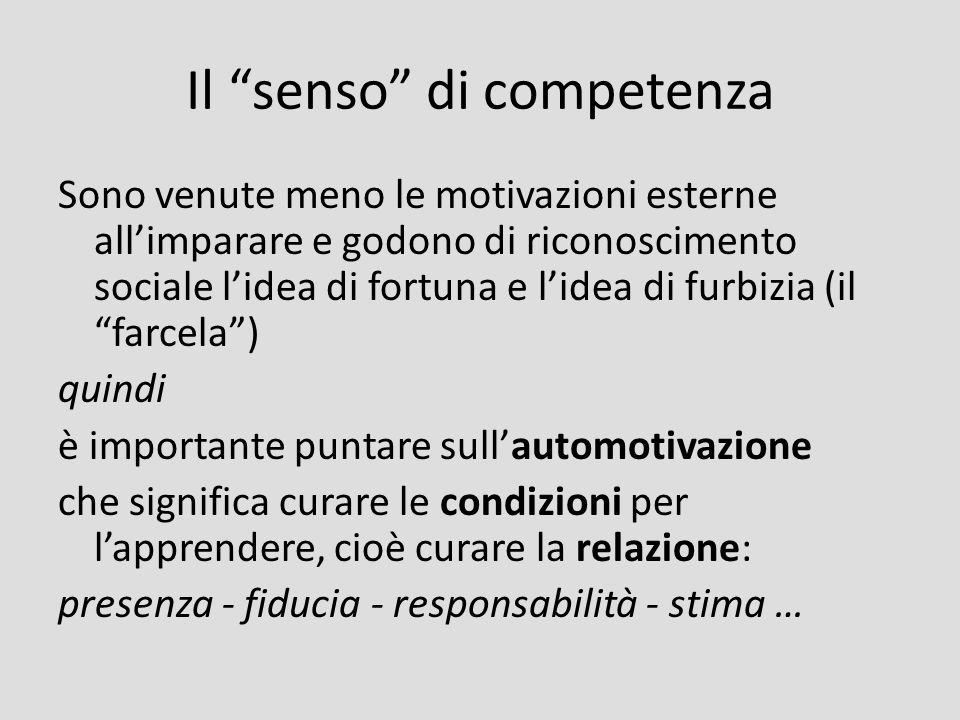 Il senso di competenza Sono venute meno le motivazioni esterne allimparare e godono di riconoscimento sociale lidea di fortuna e lidea di furbizia (il