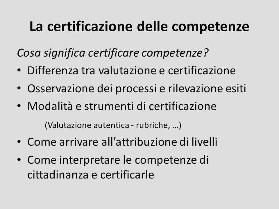 La certificazione delle competenze Cosa significa certificare competenze? Differenza tra valutazione e certificazione Osservazione dei processi e rile