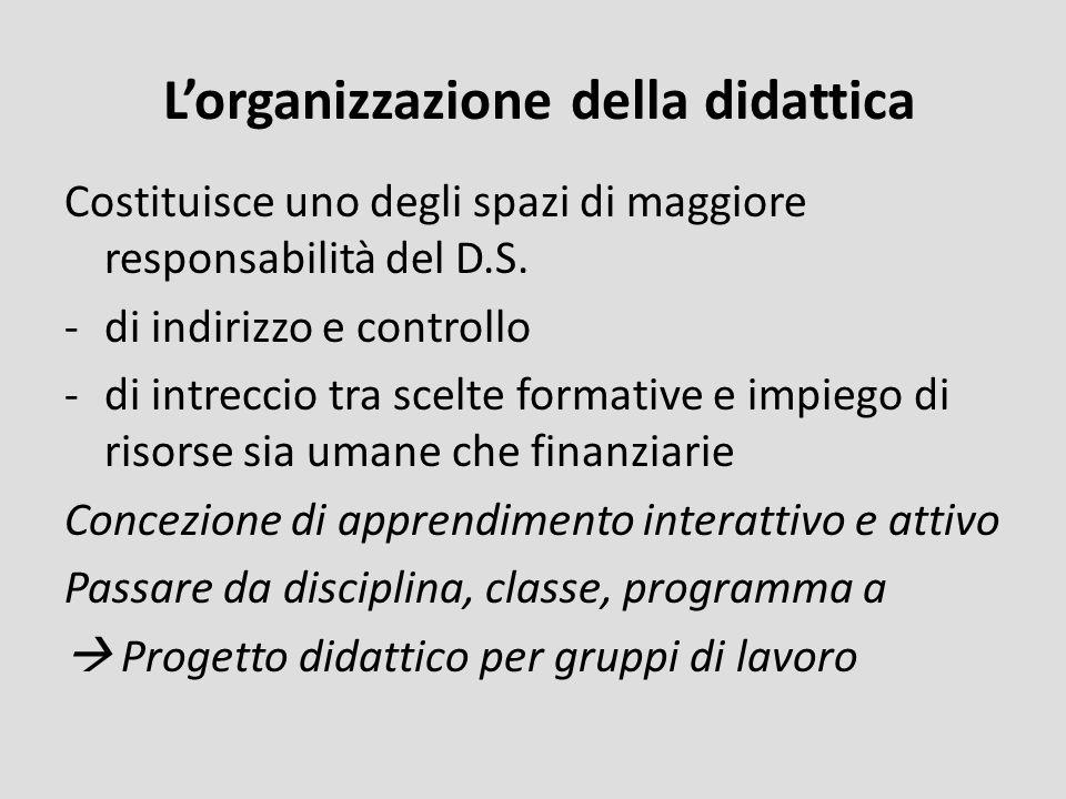 Lorganizzazione della didattica Costituisce uno degli spazi di maggiore responsabilità del D.S. -di indirizzo e controllo -di intreccio tra scelte for