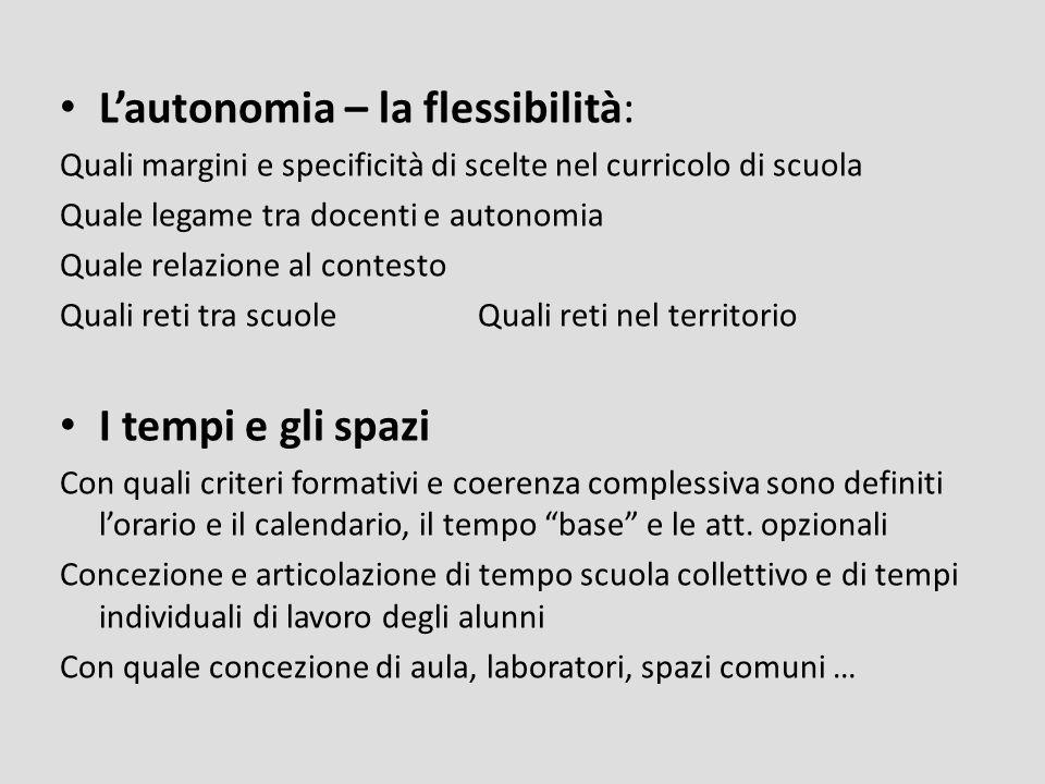 Lautonomia – la flessibilità: Quali margini e specificità di scelte nel curricolo di scuola Quale legame tra docenti e autonomia Quale relazione al co