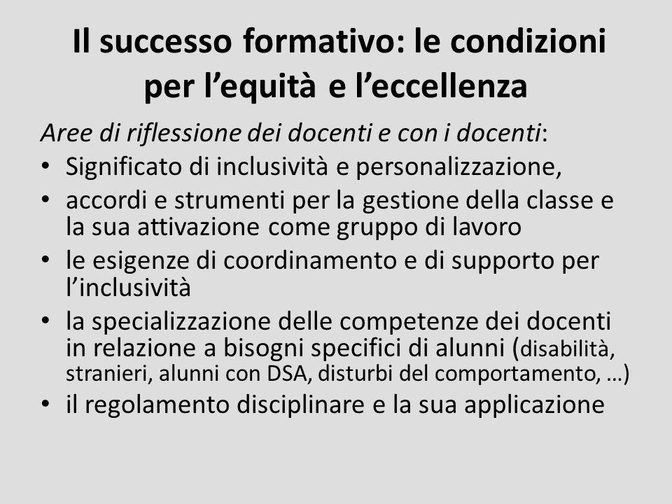 Il successo formativo: le condizioni per lequità e leccellenza Aree di riflessione dei docenti e con i docenti: Significato di inclusività e personali