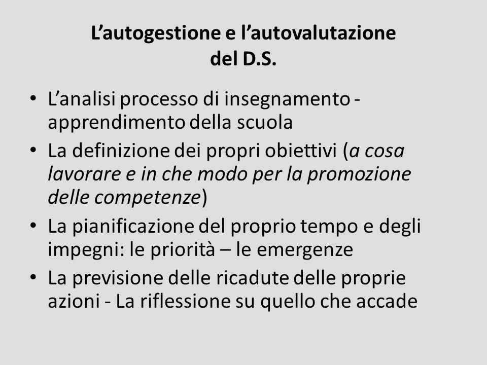 Lautogestione e lautovalutazione del D.S. Lanalisi processo di insegnamento - apprendimento della scuola La definizione dei propri obiettivi (a cosa l