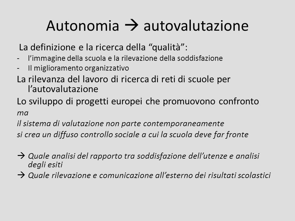 Autonomia autovalutazione La definizione e la ricerca della qualità: -limmagine della scuola e la rilevazione della soddisfazione -Il miglioramento or