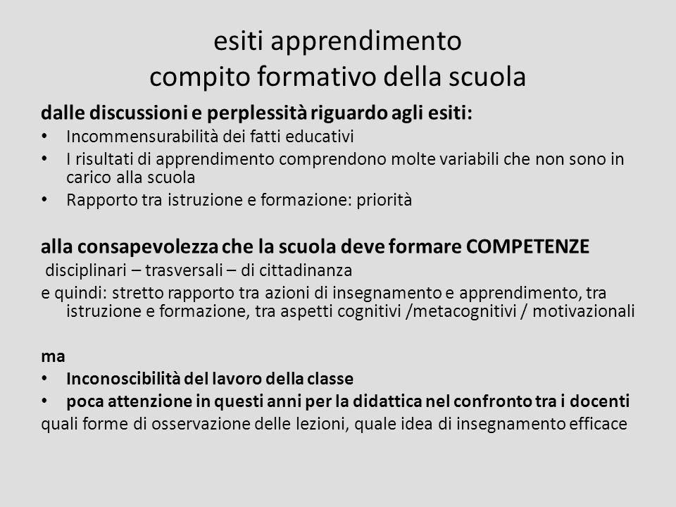 esiti apprendimento compito formativo della scuola dalle discussioni e perplessità riguardo agli esiti: Incommensurabilità dei fatti educativi I risul