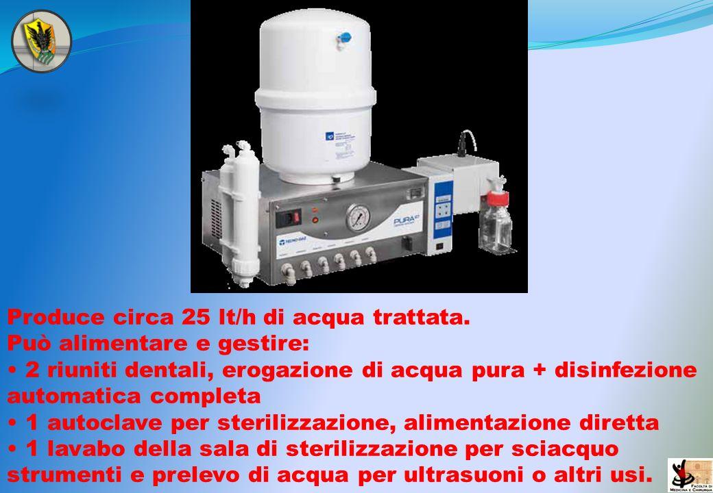 Produce circa 25 lt/h di acqua trattata. Può alimentare e gestire: 2 riuniti dentali, erogazione di acqua pura + disinfezione automatica completa 1 au