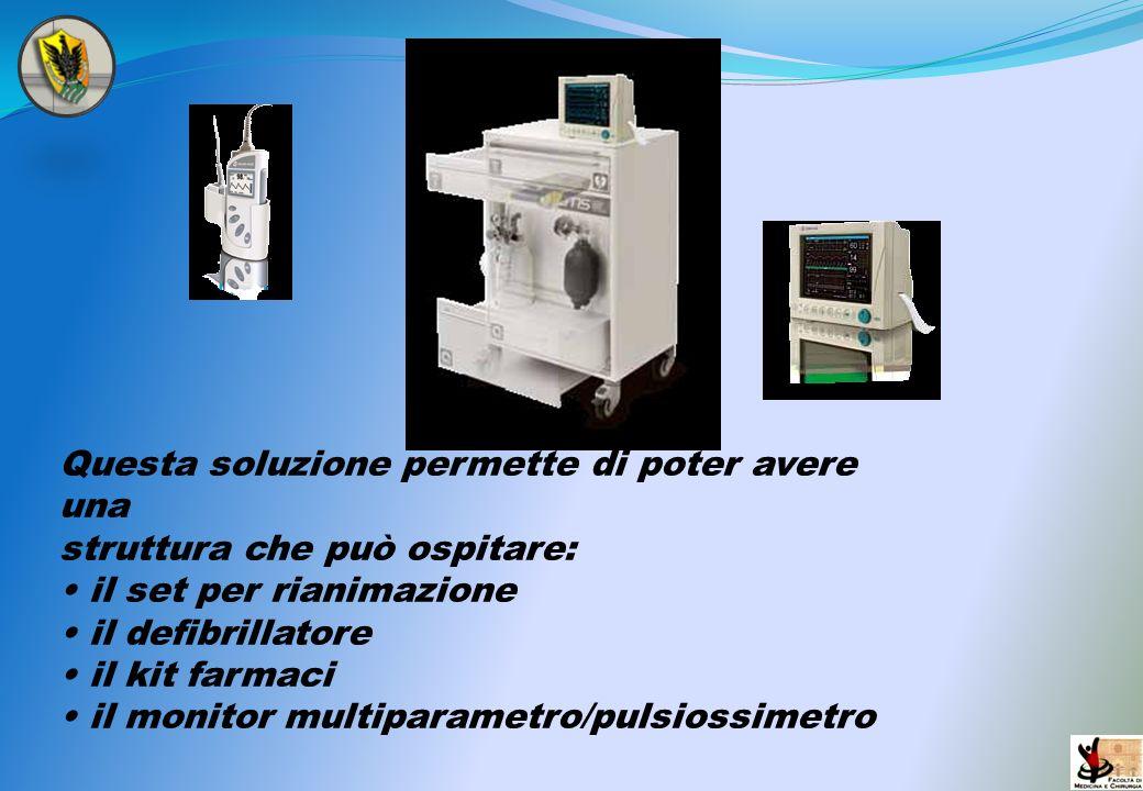 Questa soluzione permette di poter avere una struttura che può ospitare: il set per rianimazione il defibrillatore il kit farmaci il monitor multipara