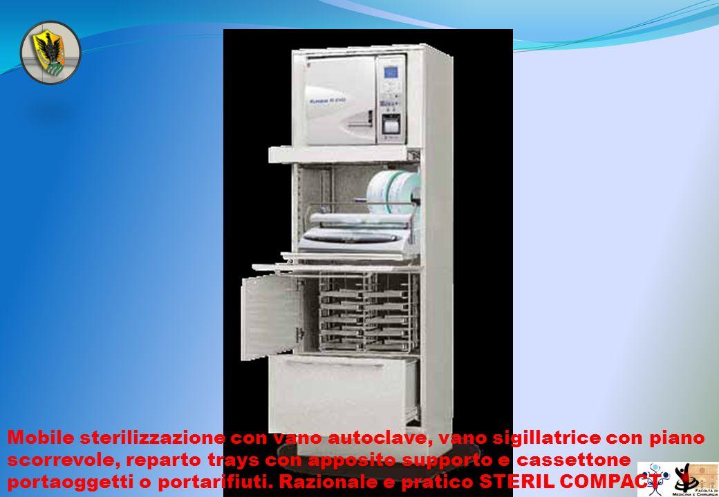 Mobile sterilizzazione con vano autoclave, vano sigillatrice con piano scorrevole, reparto trays con apposito supporto e cassettone portaoggetti o por