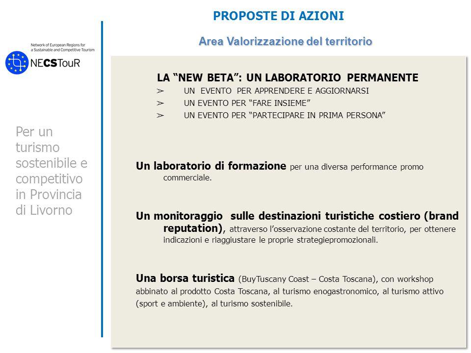 Per un turismo sostenibile e competitivo in Provincia di Livorno PROPOSTE DI AZIONI Area Valorizzazione del territorio