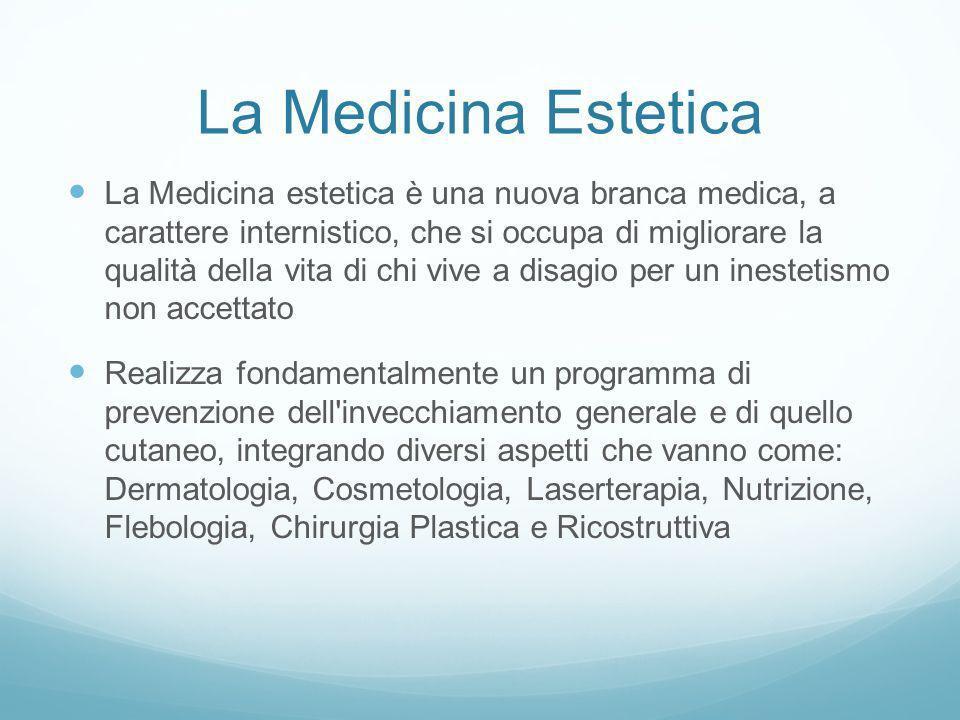La Medicina Estetica La Medicina estetica è una nuova branca medica, a carattere internistico, che si occupa di migliorare la qualità della vita di ch