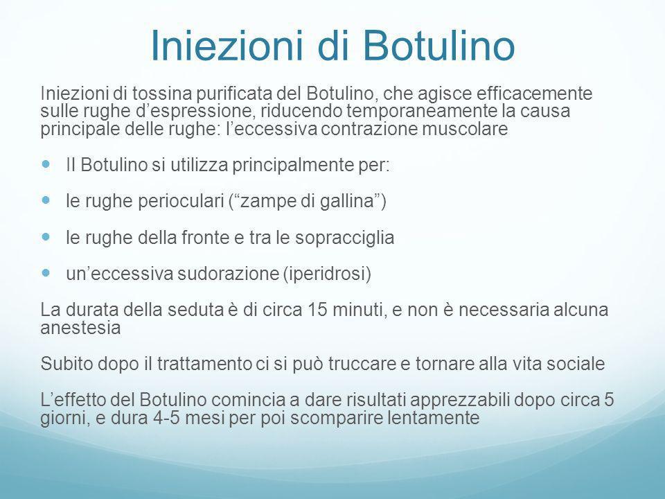 Iniezioni di Botulino Iniezioni di tossina purificata del Botulino, che agisce efficacemente sulle rughe despressione, riducendo temporaneamente la ca