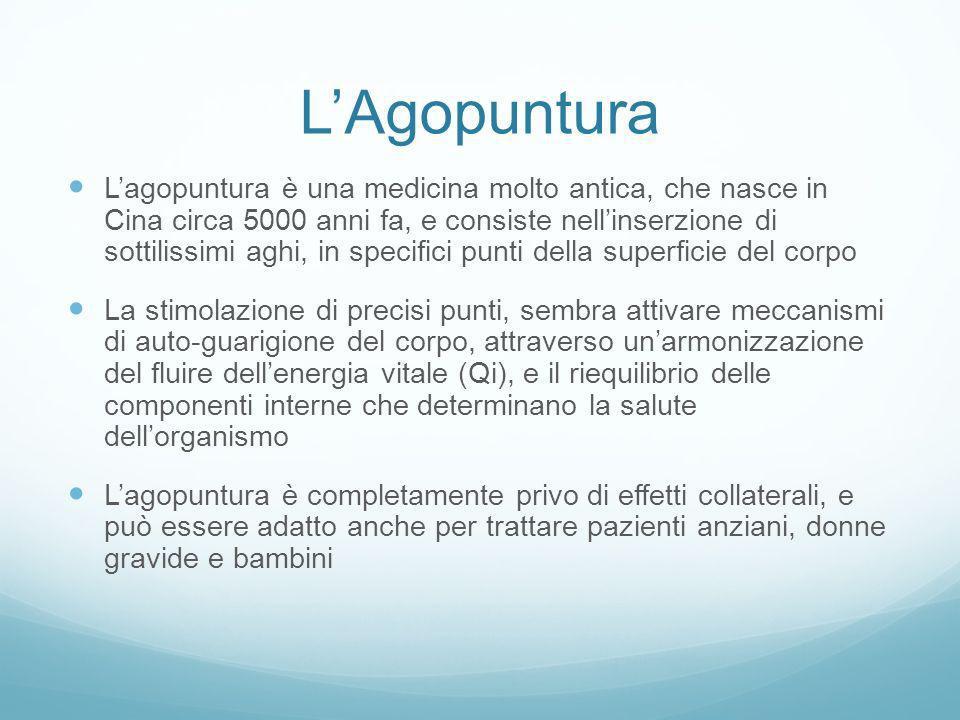 LAgopuntura Lagopuntura è una medicina molto antica, che nasce in Cina circa 5000 anni fa, e consiste nellinserzione di sottilissimi aghi, in specific