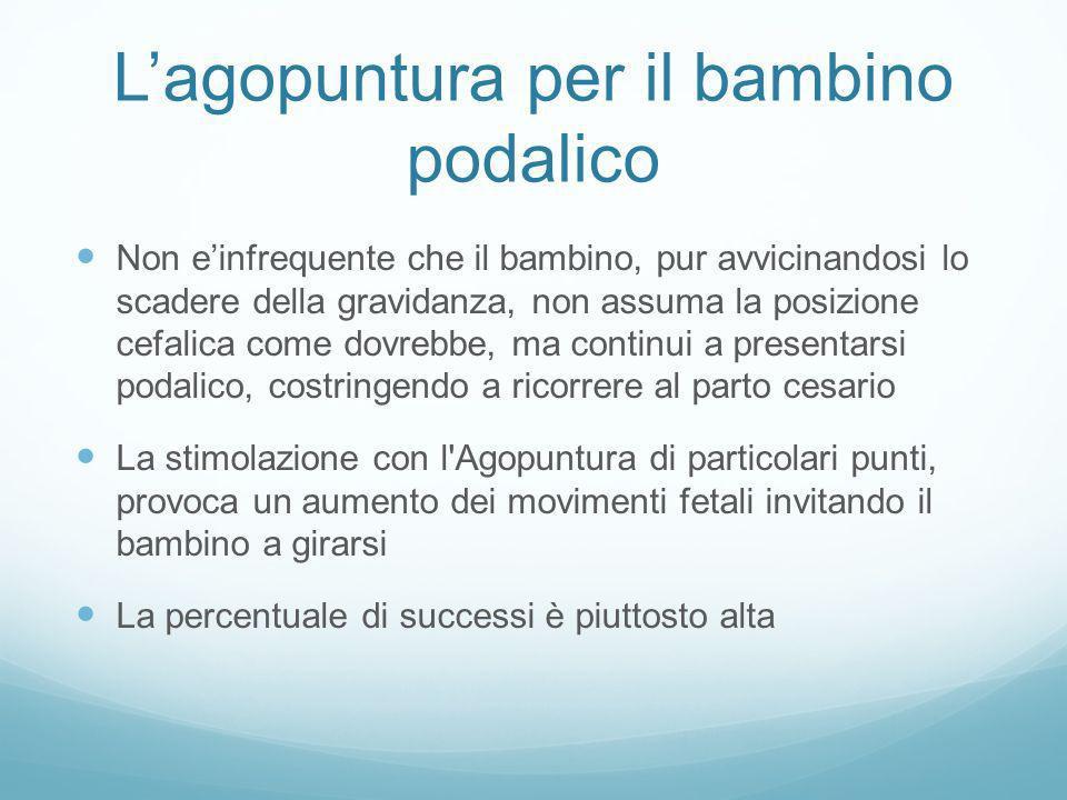 Lagopuntura per il bambino podalico Non einfrequente che il bambino, pur avvicinandosi lo scadere della gravidanza, non assuma la posizione cefalica c