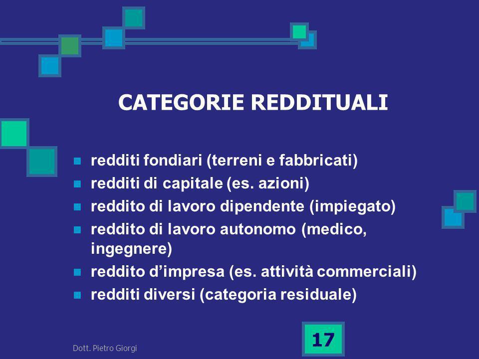 CATEGORIE REDDITUALI redditi fondiari (terreni e fabbricati) redditi di capitale (es. azioni) reddito di lavoro dipendente (impiegato) reddito di lavo
