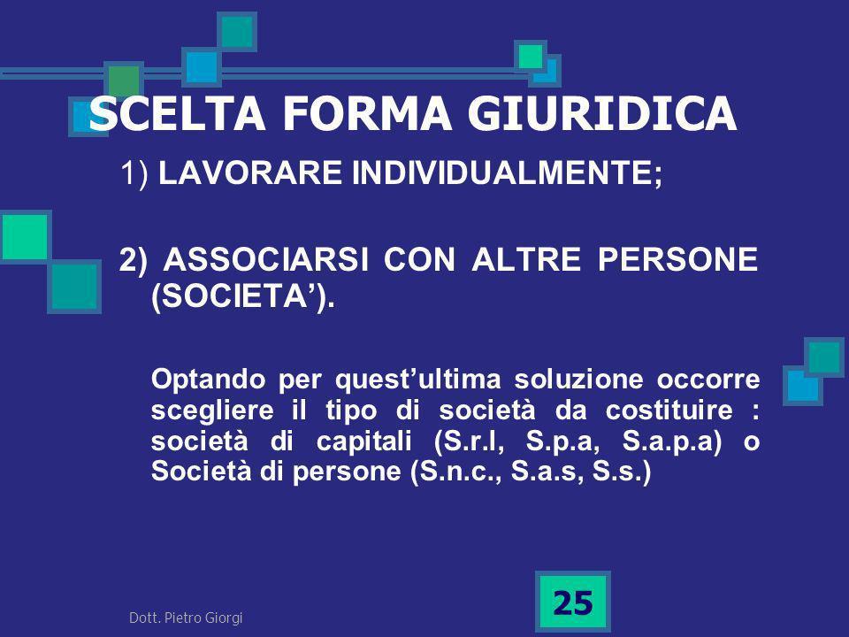 1) LAVORARE INDIVIDUALMENTE; 2) ASSOCIARSI CON ALTRE PERSONE (SOCIETA). Optando per questultima soluzione occorre scegliere il tipo di società da cost