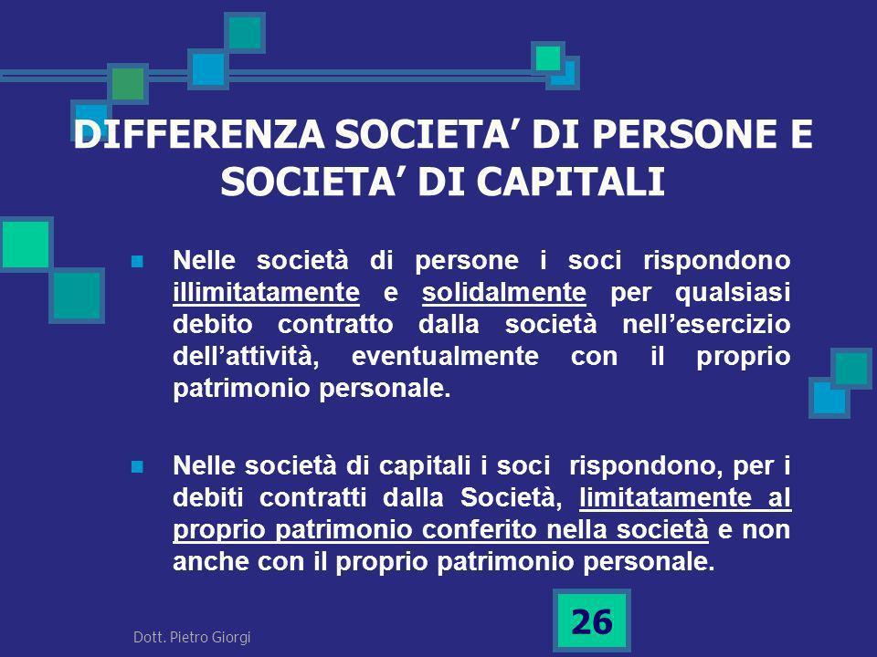 DIFFERENZA SOCIETA DI PERSONE E SOCIETA DI CAPITALI Nelle società di persone i soci rispondono illimitatamente e solidalmente per qualsiasi debito con
