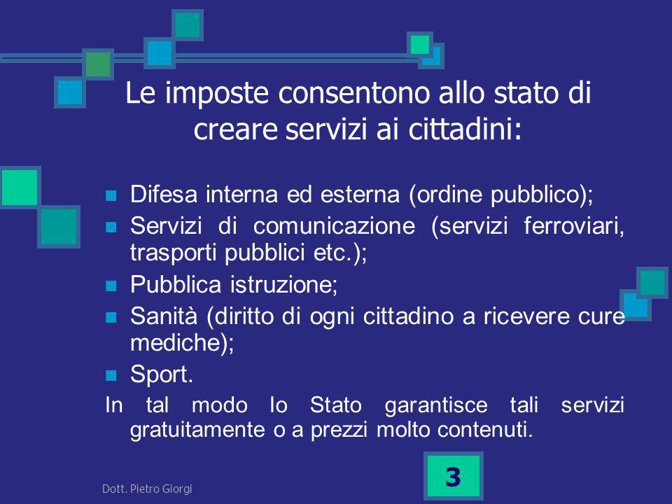 Le imposte consentono allo stato di creare servizi ai cittadini: Difesa interna ed esterna (ordine pubblico); Servizi di comunicazione (servizi ferrov