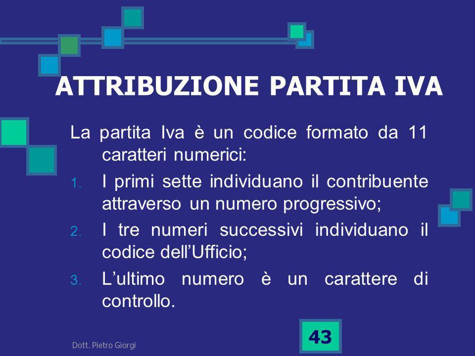 ATTRIBUZIONE PARTITA IVA La partita Iva è un codice formato da 11 caratteri numerici: 1. I primi sette individuano il contribuente attraverso un numer