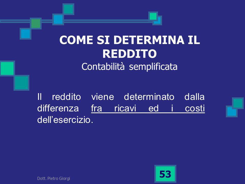 COME SI DETERMINA IL REDDITO Contabilità semplificata Il reddito viene determinato dalla differenza fra ricavi ed i costi dellesercizio. 53 Dott. Piet