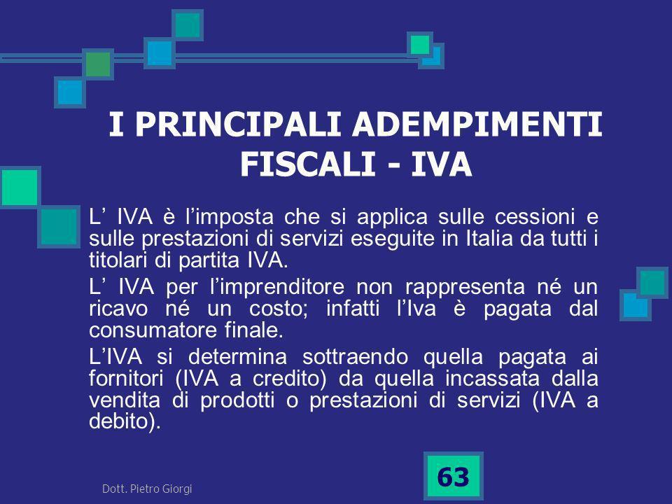 I PRINCIPALI ADEMPIMENTI FISCALI - IVA L IVA è limposta che si applica sulle cessioni e sulle prestazioni di servizi eseguite in Italia da tutti i tit