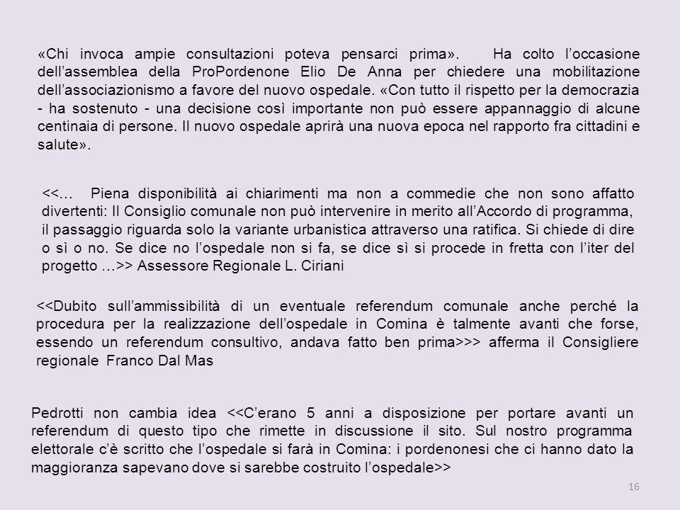 16 Pedrotti non cambia idea > > Assessore Regionale L.
