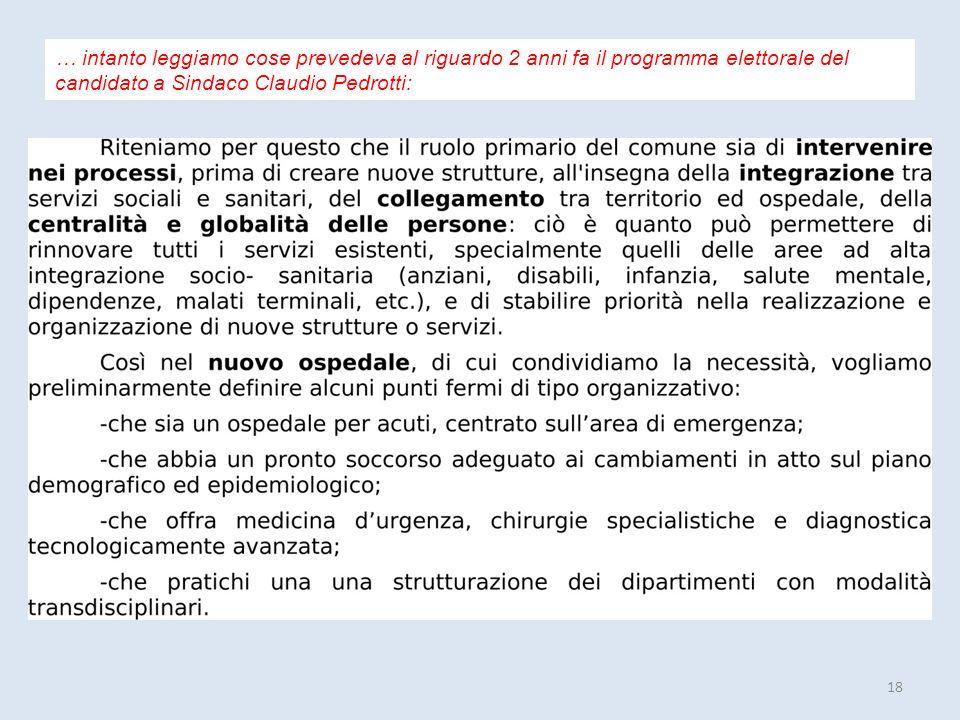 18 … intanto leggiamo cose prevedeva al riguardo 2 anni fa il programma elettorale del candidato a Sindaco Claudio Pedrotti:
