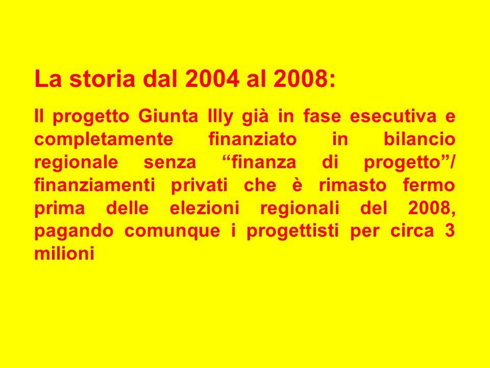 La storia dal 2004 al 2008: Il progetto Giunta Illy già in fase esecutiva e completamente finanziato in bilancio regionale senza finanza di progetto/ finanziamenti privati che è rimasto fermo prima delle elezioni regionali del 2008, pagando comunque i progettisti per circa 3 milioni