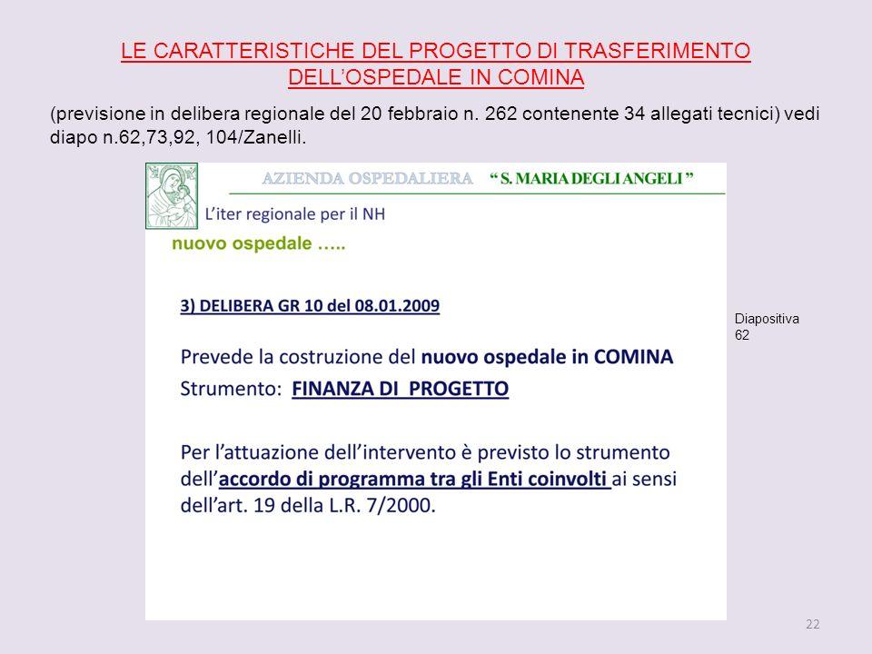 22 LE CARATTERISTICHE DEL PROGETTO DI TRASFERIMENTO DELLOSPEDALE IN COMINA (previsione in delibera regionale del 20 febbraio n.