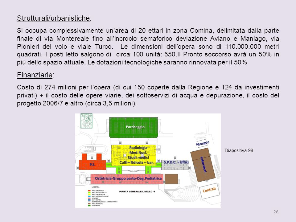 26 Strutturali/urbanistiche: Si occupa complessivamente unarea di 20 ettari in zona Comina, delimitata dalla parte finale di via Montereale fino allincrocio semaforico deviazione Aviano e Maniago, via Pionieri del volo e viale Turco.