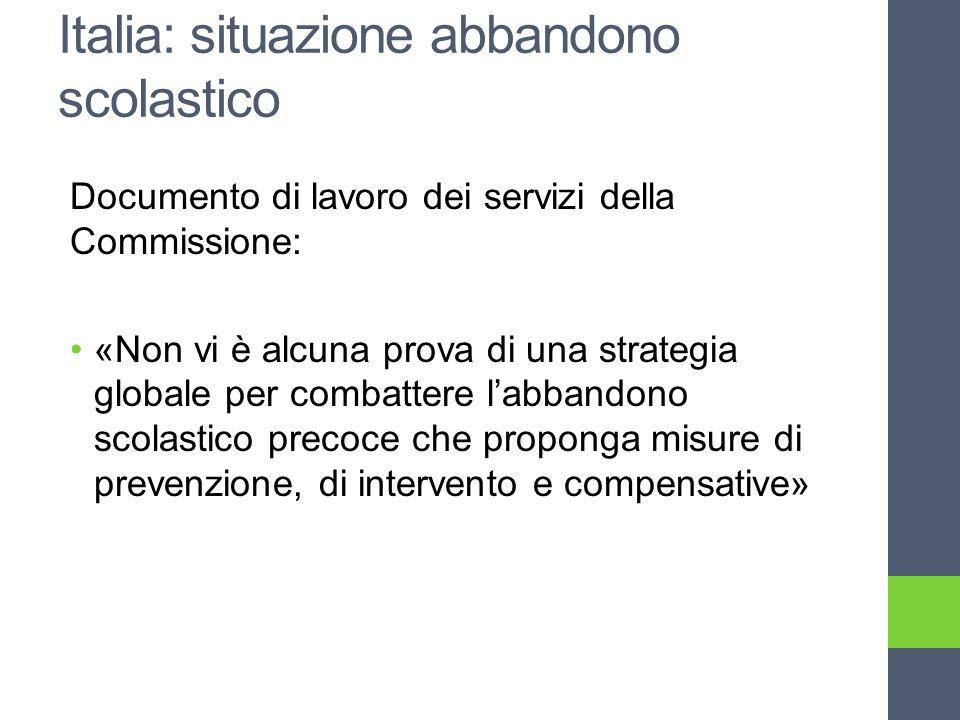 Italia: situazione abbandono scolastico Documento di lavoro dei servizi della Commissione: «Non vi è alcuna prova di una strategia globale per combattere labbandono scolastico precoce che proponga misure di prevenzione, di intervento e compensative»