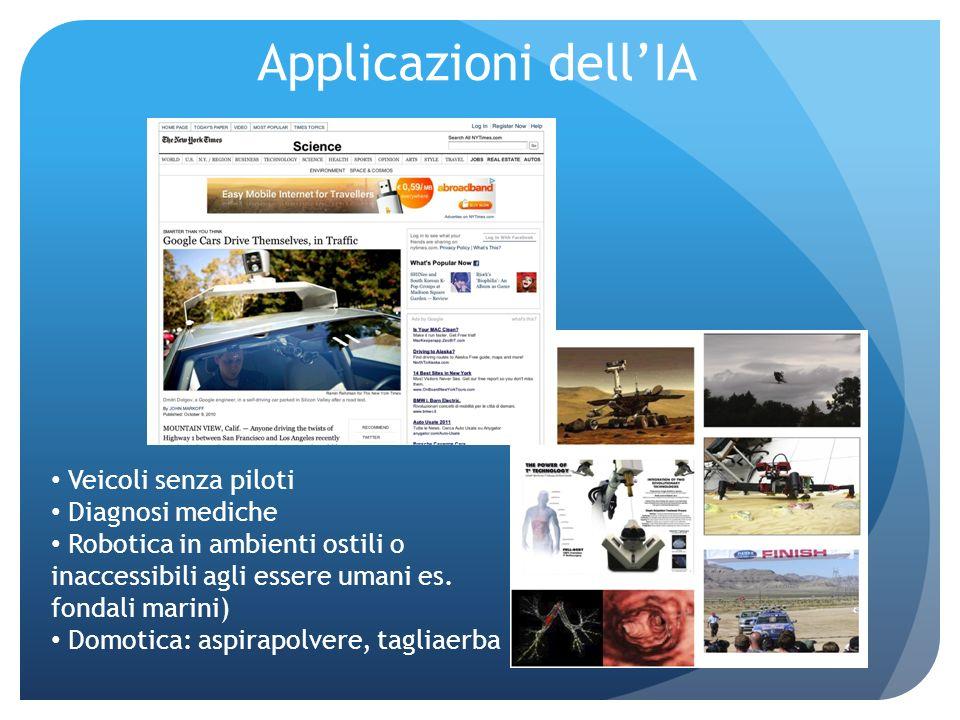 Applicazioni dellIA Veicoli senza piloti Diagnosi mediche Robotica in ambienti ostili o inaccessibili agli essere umani es.