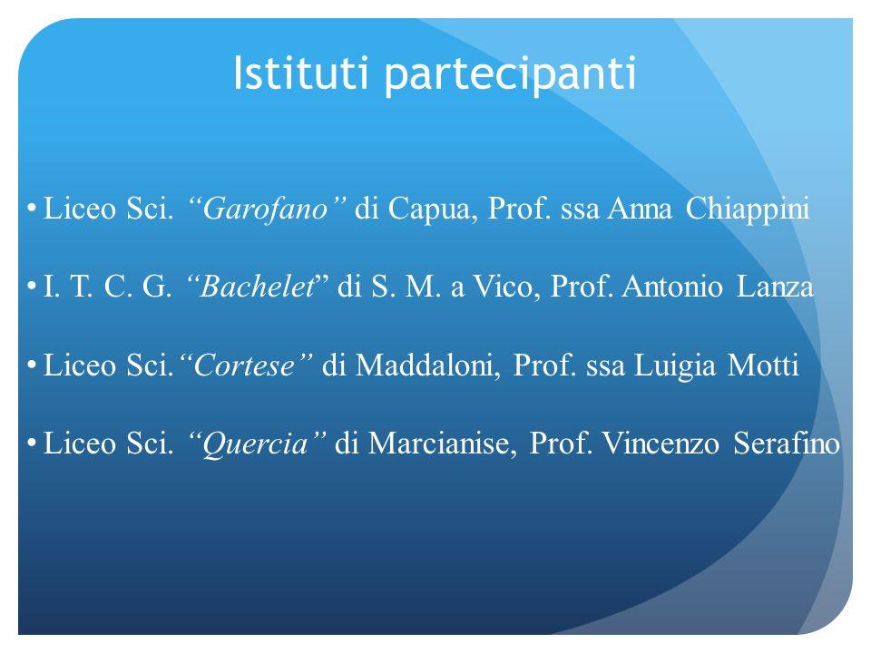 Istituti partecipanti Liceo Sci. Garofano di Capua, Prof. ssa Anna Chiappini I. T. C. G. Bachelet di S. M. a Vico, Prof. Antonio Lanza Liceo Sci.Corte