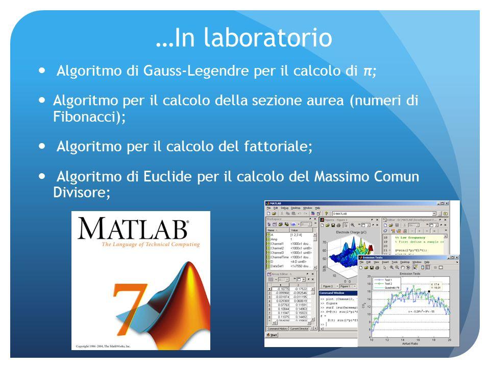 …In laboratorio Algoritmo di Gauss-Legendre per il calcolo di π; Algoritmo per il calcolo della sezione aurea (numeri di Fibonacci); Algoritmo per il calcolo del fattoriale; Algoritmo di Euclide per il calcolo del Massimo Comun Divisore;