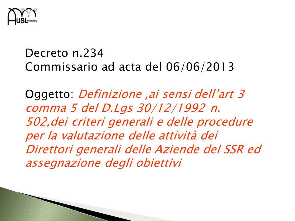 Decreto n.234 Commissario ad acta del 06/06/2013 Oggetto: Definizione,ai sensi dellart 3 comma 5 del D.Lgs 30/12/1992 n. 502,dei criteri generali e de