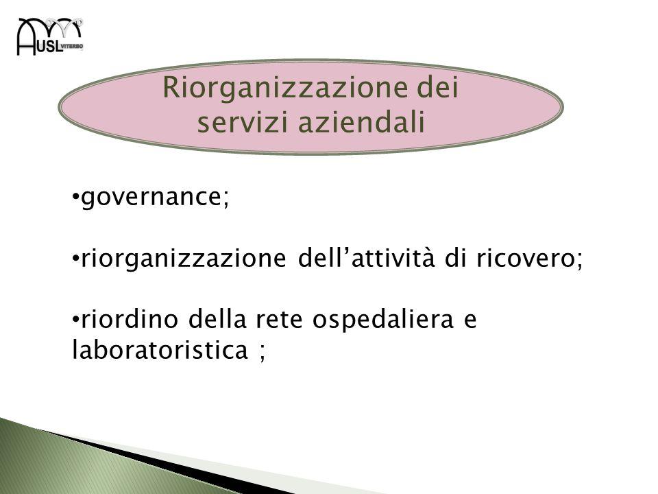 Riorganizzazione dei servizi aziendali governance; riorganizzazione dellattività di ricovero; riordino della rete ospedaliera e laboratoristica ;
