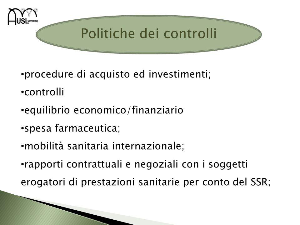 Politiche dei controlli procedure di acquisto ed investimenti; controlli equilibrio economico/finanziario spesa farmaceutica; mobilità sanitaria inter