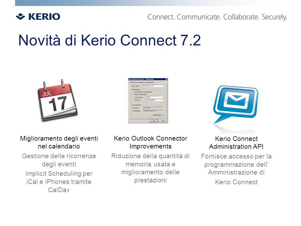 Novità di Kerio Connect 7.2 Miglioramento degli eventi nel calendario Gestione delle ricorrenze degli eventi Implicit Scheduling per iCal e iPhones tramite CalDav Kerio Outlook Connector Improvements Riduzione della quantità di memoria usata e miglioramento delle prestazioni Kerio Connect Administration API Fornisce accesso per la programmazione dell Amministrazione di Kerio Connect