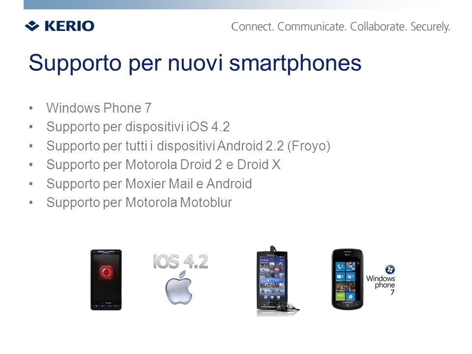 Supporto per nuovi smartphones Windows Phone 7 Supporto per dispositivi iOS 4.2 Supporto per tutti i dispositivi Android 2.2 (Froyo) Supporto per Motorola Droid 2 e Droid X Supporto per Moxier Mail e Android Supporto per Motorola Motoblur